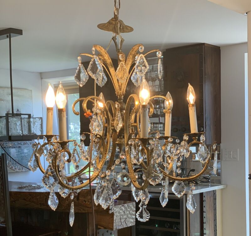 Vintage Solid Brass and Crystal Chandelier