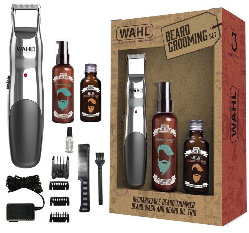 Wahl 9916-803 Cordless Beard Trimmer, 30ml Beard Oil & 100ml