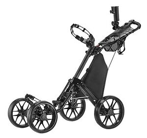 CaddyTek One-click folding 4-wheel golf push cart, CaddyCruiser One V3-DarkGrey