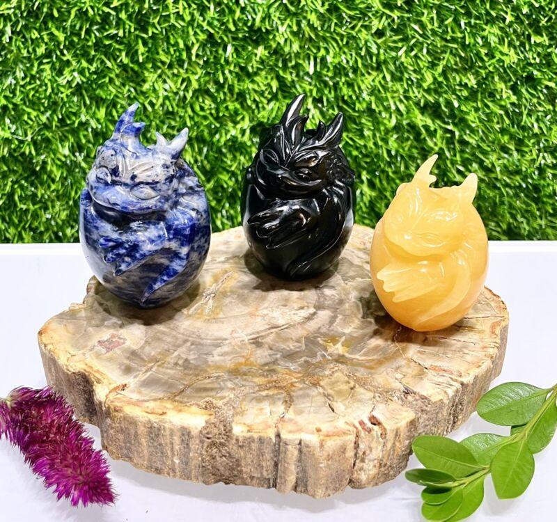 Wholesale Lot 3 Pcs Mix Natural Crystal Dragon Eggs Sodalite Mexican Calcite