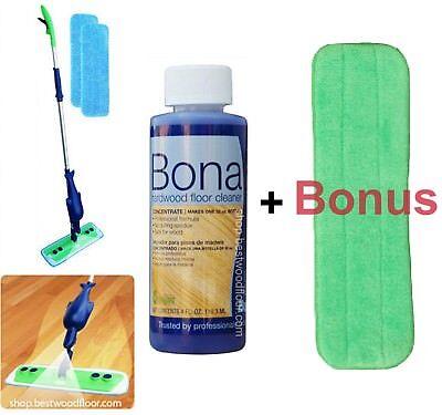 Refillable Spray Mop Kit with Bona Hardwood Floor Cleaner Concentrate 4oz+BONUS! (Bona Hardwood Spray Mop)