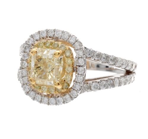 2 Tone 18K Halo 2.45 Carat GIA Fancy Yellow Cushion Cut Diamond Engagement Ring 2