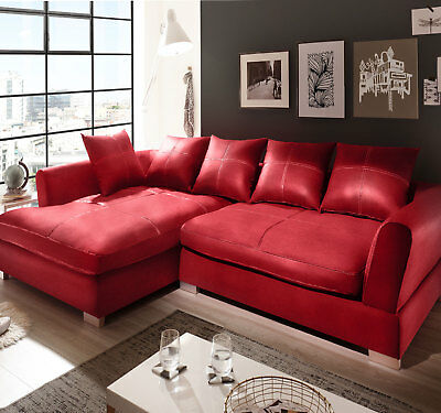 Design Couchgarnitur Rot Big K Leder Sofa Eck Sofa Wohnlandschaft Megasofa Links ()