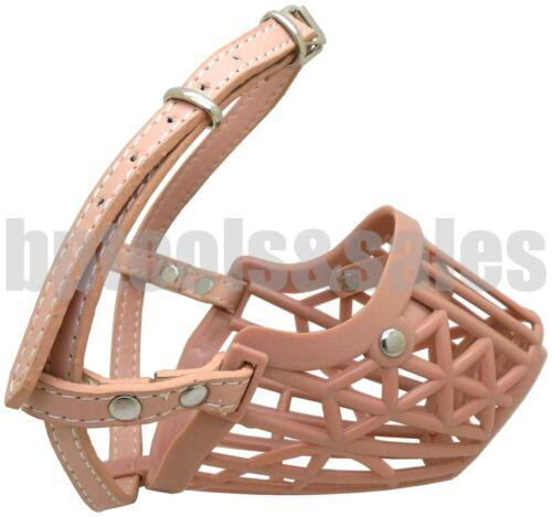 Basket Dog Muzzle Adjustable Leather Strap Pet Dog Grooming No Bark Bite Beige
