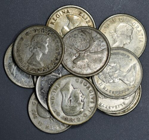 1920-1966 CANADIAN QUARTERS 25c  LOT OF 12  80% SILVER COINS FV $3.00  B1238