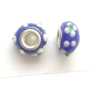 4-LAMPWORK-13X8MM-GLASS-BEADS-5mm-HOLE-BLUE-D027