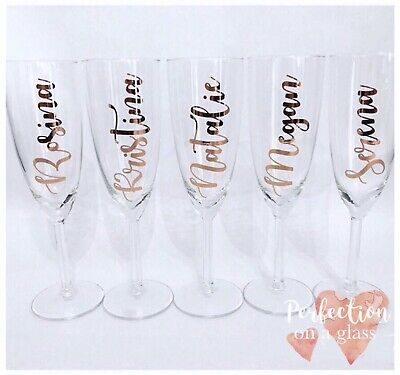Personalised Champagne Flutes Wedding Hen Party Bridesmaid Glasses ROSE GOLD](Bridesmaid Champagne Flutes)