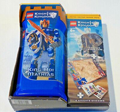 Lego Knights Kingdom King Mathias Roi #8809 & Limited Ed Bonus Pack New-Sealed