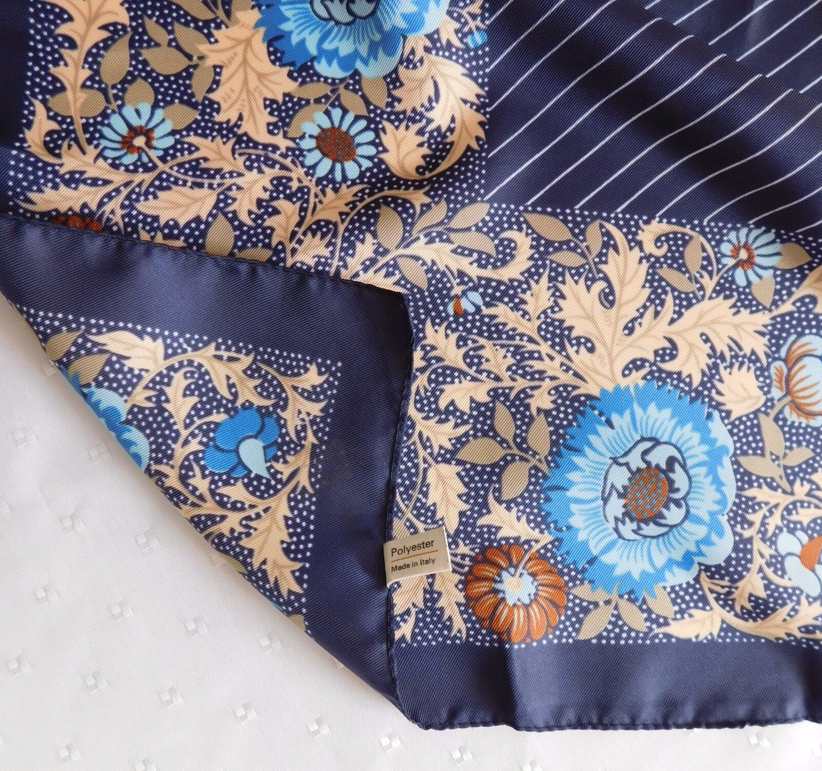 "Italian scarf blue floral pattern 26"" square headscarf stripes vintage 1980s"