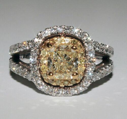 2 Tone 18K Halo 2.45 Carat GIA Fancy Yellow Cushion Cut Diamond Engagement Ring