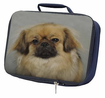 Tibetan Spaniel Dog Navy Insulated School Lunch Box Bag, AD-TS2LBN