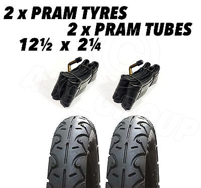 2x Pram Tyres & 2x Tubes 12 1/2 X 2 1/4 Slick Babytrend iCandy Apple Maclaren, used for sale  Shipping to United States