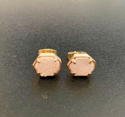 Kendra Scott Nola rose gold stud earrings Iridescent Drusy