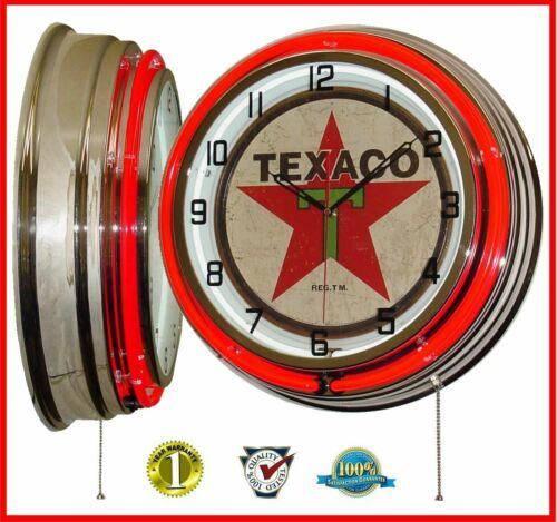 "19"" Texaco Gas Oil Sign Double Neon Clock Mancave Bar Garage Red Neon"