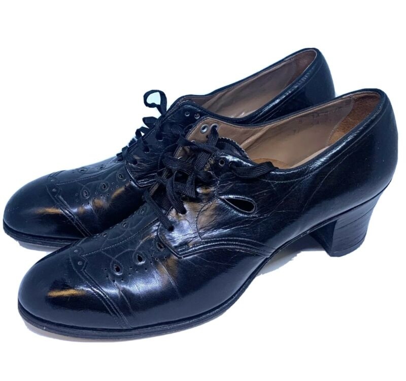 True Vtg Treadeasy Womens Lace Up Oxford Heels Shoes Black Leather Cap Toe 8 AAA