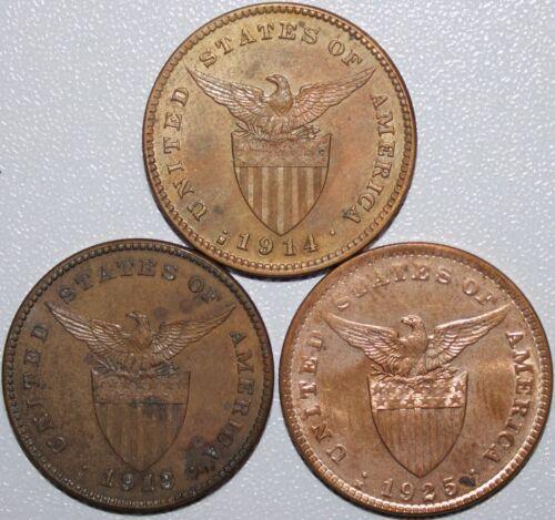 Trio of US/Philippines 1 Centavos ~ 1913, 1914 & 1925 ~ AU/UNC Details ~ MX174