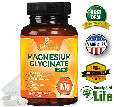 PURE MAGNESIUM GLYCINATE 450 mg 60 Capsules High Absorption Muscle Relaxation  450 Mg 60 Capsules