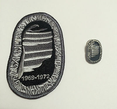 Apollo 11 Foot Patch & Pin Set NASA CONTAINS COMMAND MODULE METAL FLOWN TO MOON