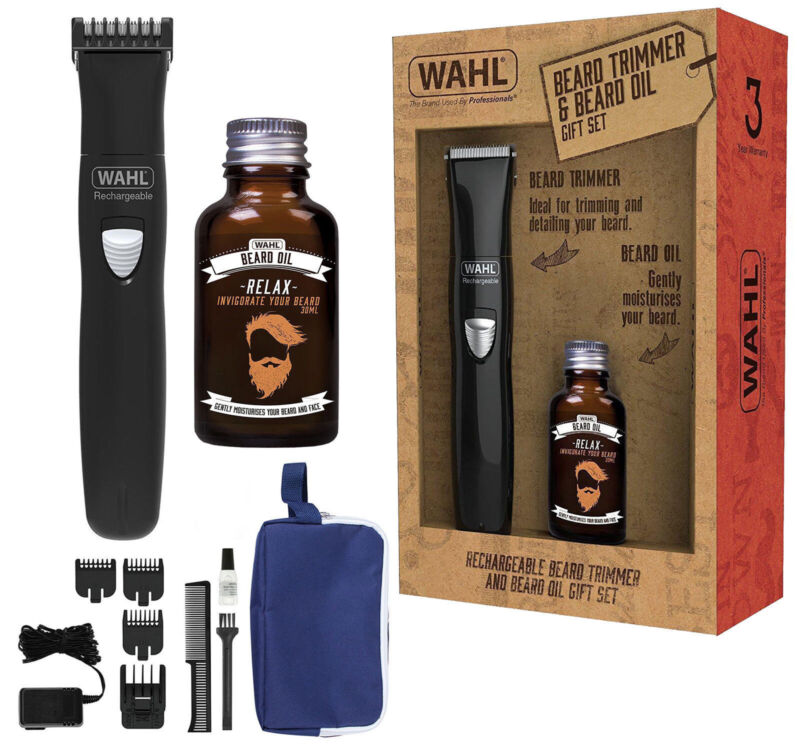 Wahl 9865-805 Rechargeable Cordless Beard Hair Trimmer & 30m