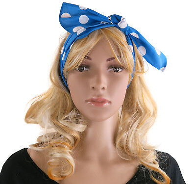 Rock and Roll Polka Dot Headband Scarf Hair Tie 50's / 60's Fancy - 50s And 60s Hair