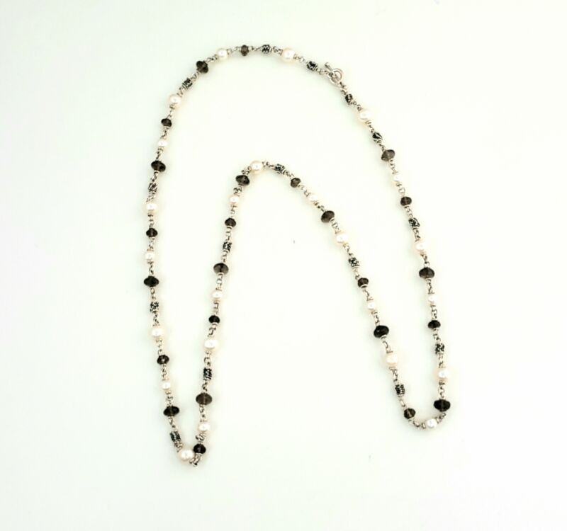 Michael Dawkins Sterling Silver Pearls and Smokey Topaz Necklace #9414