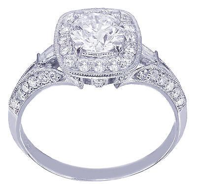 GIA H-VS2 14k White Gold Round Cut Diamond Engagement Ring Deco Prong 1.95ctw 8
