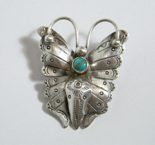Southwestern Silver & Turquoise Butterfly Pin w Stamped Designs vintage