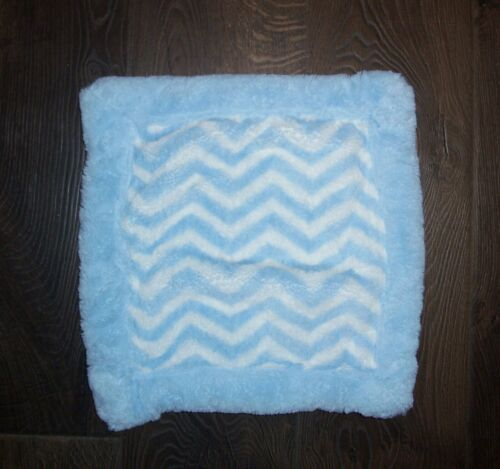 "Koala Baby Blue White Chevron Blanket Thick Plush Security Lovey 14.5x15"""