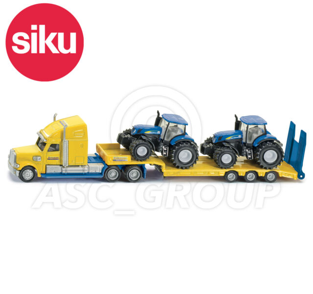 SIKU NO.1805 1:87 HGV Low Loader TRUCK & 2 NEW HOLLAND TRACTORS Dicast Model Toy