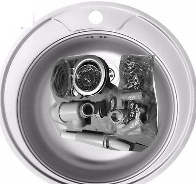 Edelstahl Küchenspüle Rund püle 48 cm Einbauspüle Spüle + Zub. Spülbecken