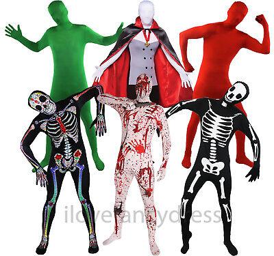 HALLOWEEN SKINSUITS MENS FANCY DRESS COSTUME 6 STYLES BODYSUIT ZENTAI SKIN SUIT