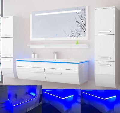 120 cm Badmöbel Set Schwarz Weiss Hochglanz LED Badezimmermöbel Komplett Bad 120