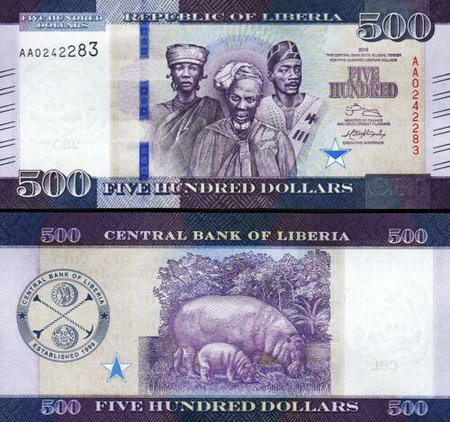 Liberia 500 Dollars 2016, UNC, 5 Pcs LOT, Consecutive, P-35,New Design,Prefix AA