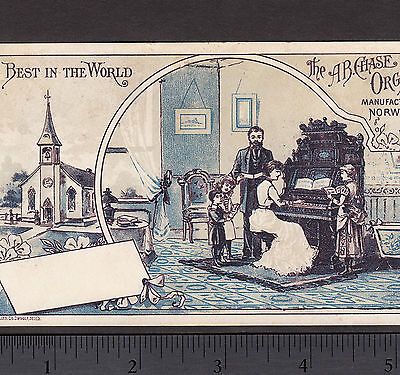 Chase Organ Norwalk Ohio 1800's Israel Glunt Music Church Advertising Trade Card