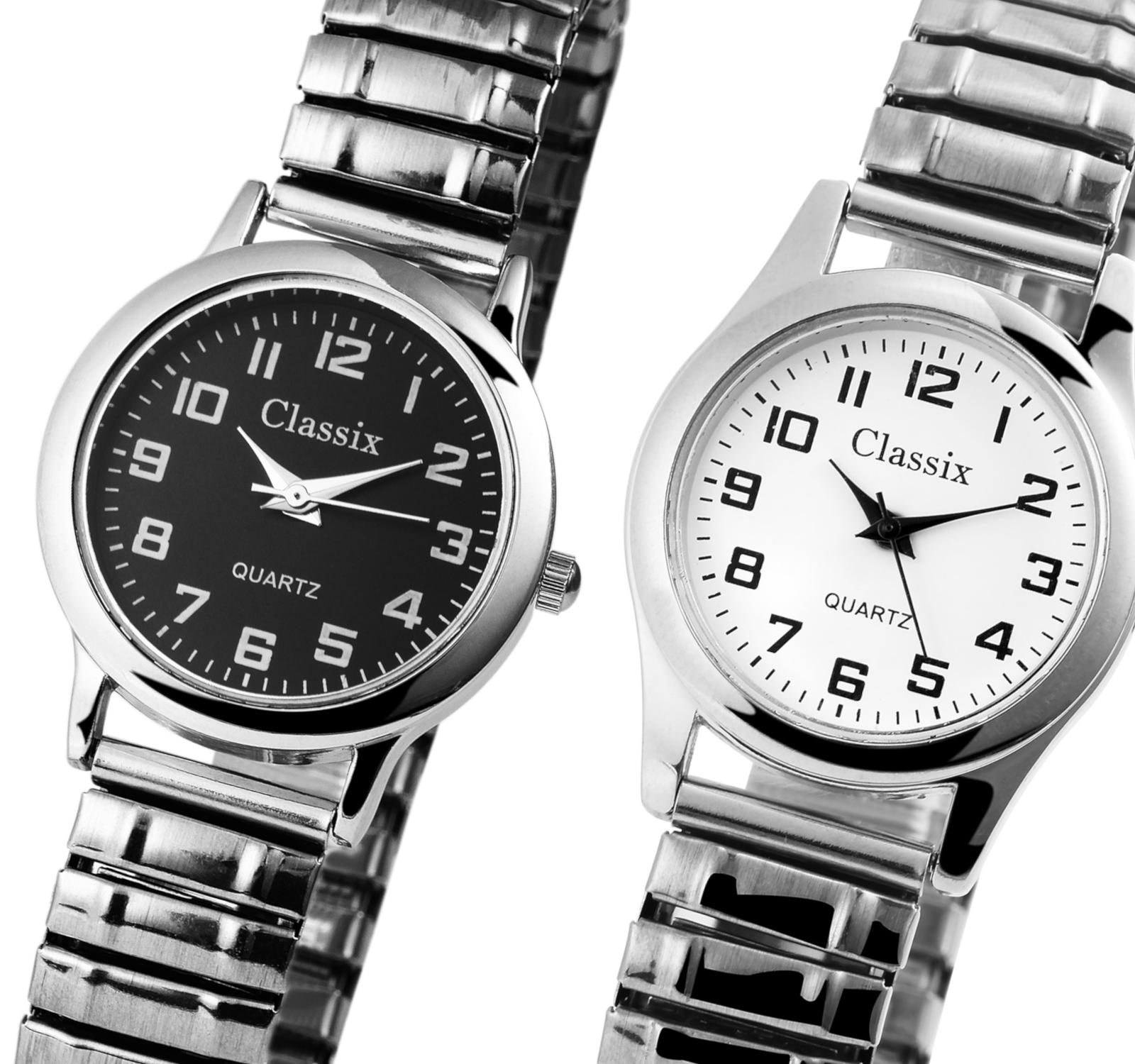Classix Damenuhr Silbern Edelstahl Zugband Stretcharmband Metall Damen Uhr NEU