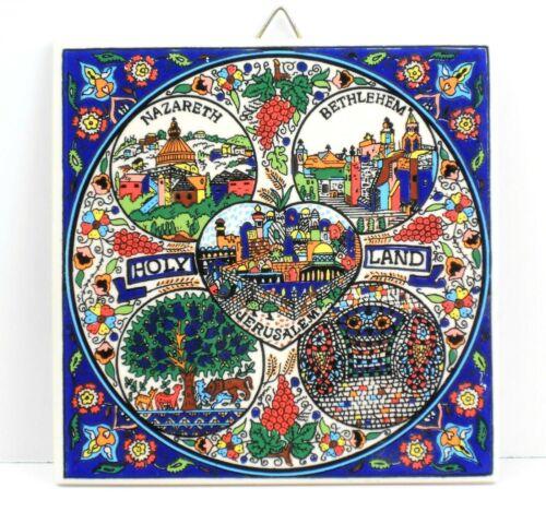 "Vintage H&R Johnson 4"" Square Tile, Holy Land, Nazareth, Bethlehem Jerusalem"
