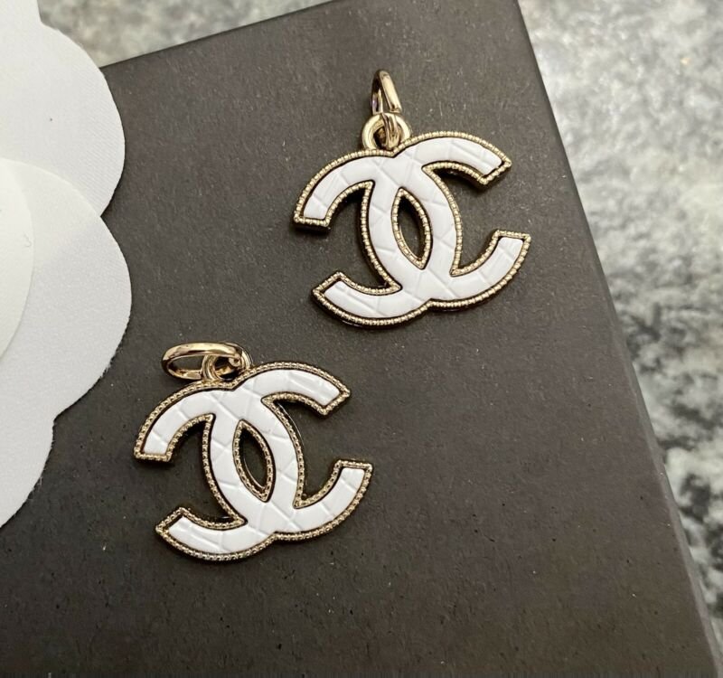 Set Of 2 Stamped CHANEL Quilted White Enamel Gold Metal Zipper Pull 20mm