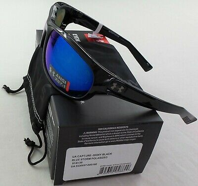 b0e9a3e95a Under Armour Sunglasses Polarized Capture Storm Black Blue Mirror  Microfiber New