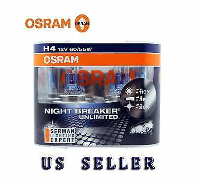 OSRAM 64193NBU Night Breaker Unlimited H4 Bulbs 12V 6055W Brand New Pair
