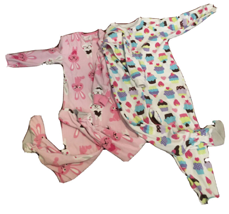 Girls 4T Lot of 5 Zip Front Footed Sleepers Pajamas Girl Pjs Size 4T / 4