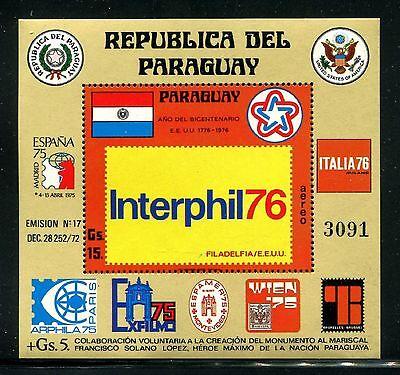 Paraguay C439, MNH, 1976 EXPO INTERPHILA 76  Flag Coat of arms  x20491