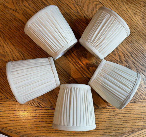 Set 5 Small Drum Lamp Chandelier Shade Silk Pleated Fabric Cream Clip On FLAWS