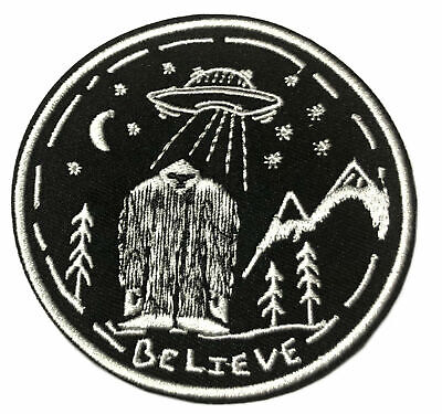 Believe Bigfoot UFO Embroidered Patch Iron/SewOn Applique XFiles Cryptid Mystery