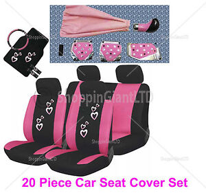 20 pc girly pink heart car seat cover mat set wheel glove for Housse voiture rose