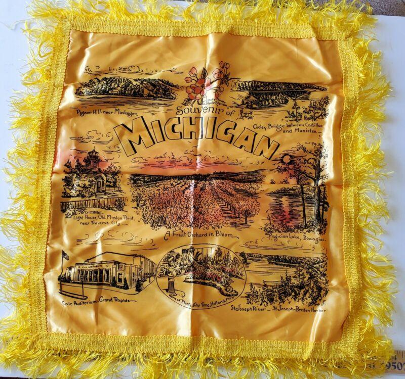 Vintage Michigan Satin Fringe Souvenir Pillow Case