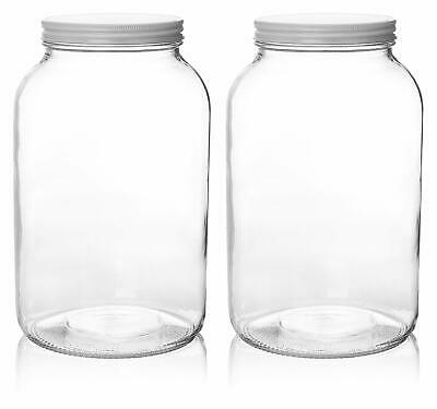 2 Pack - 1 Gallon Glass Mason Jar Wide Mouth with Airtight M