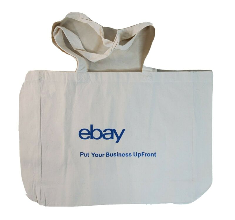 eBay Logo Tote Bag Canvas Carry 16x13.5x4.5 Inch Natural Beige Recycle