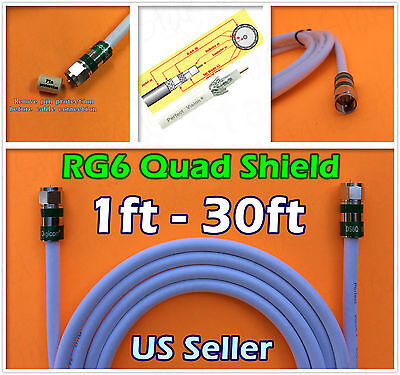 Rg6 Quad F White Coaxial Coax 0 5 30 Ft Cctv Cable Satellite Internet Tv Lot