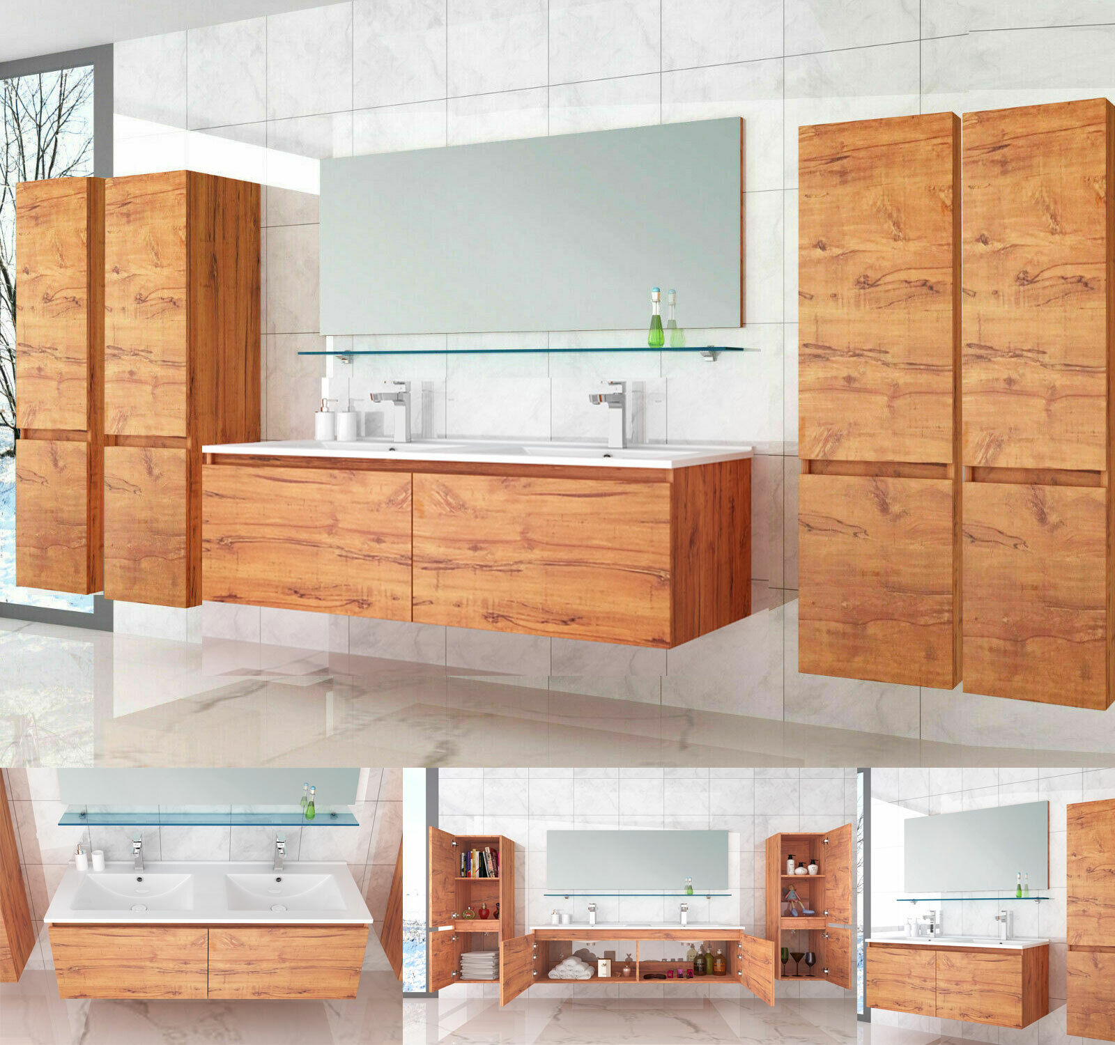 Badmöbel Set 120 cm Eiche Doppel Waschbecken Badezimmermöbel Doppelwaschtisch E.
