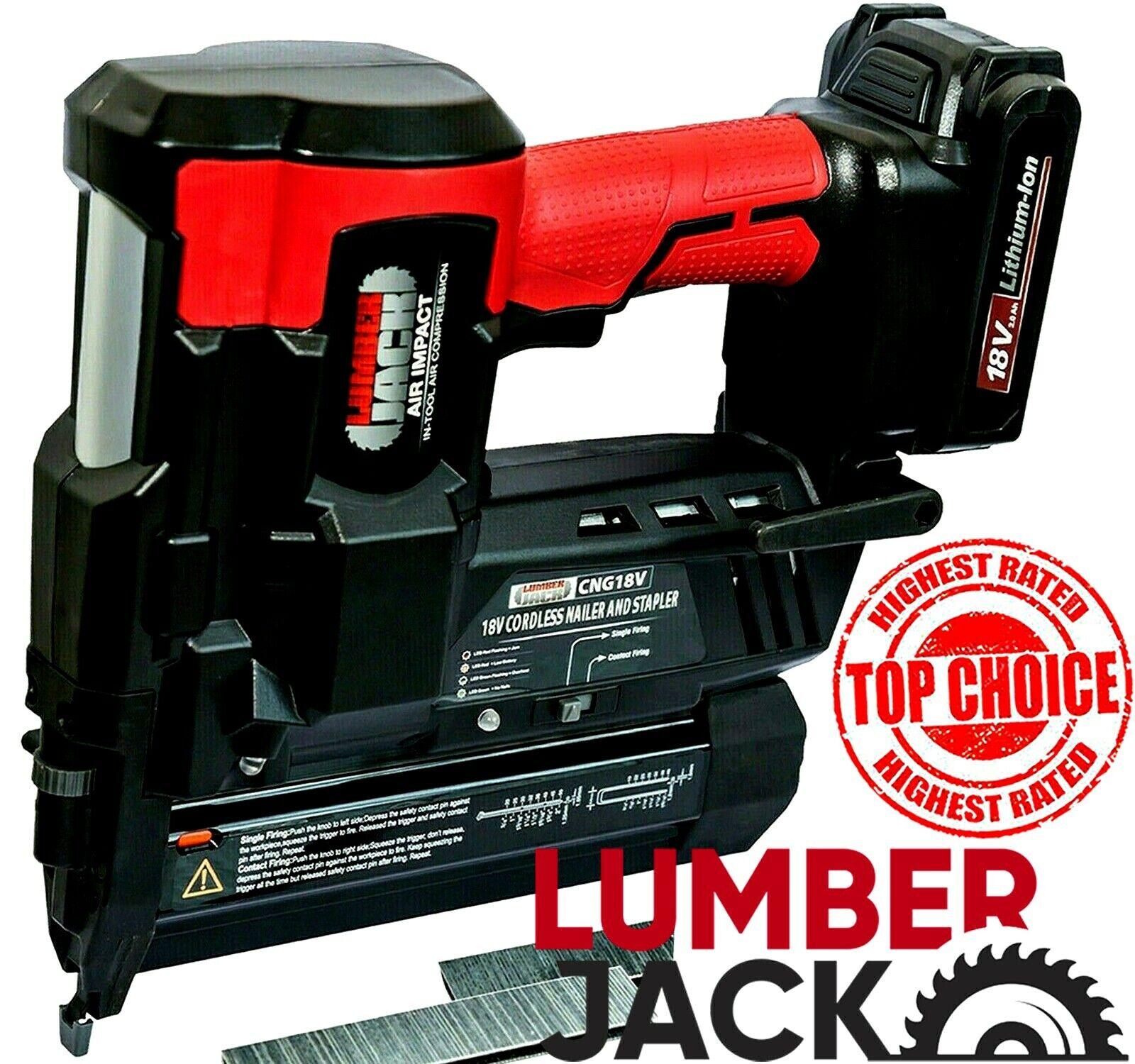 Lumberjack 18v Cordless Li-Ion Nail Gun & Stapler 2nd Fix Br